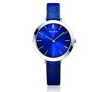 011h666–Week End Basic Damen-Armbanduhr–Quarz Analog–Zifferblatt Blau Armband Leder Blau