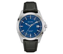 Bulova Precisionist 96B257 Herren Quarz-Armbanduhr, Analoganzeige, blaues Zifferblatt, Lederarmband in Schwarz