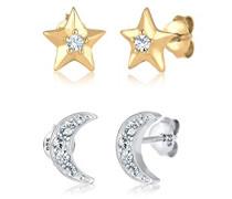 Damen-Ohrstecker Bi - Tri Color Sterne Astro Halbmond 925 Silber Kristall weiß - 0305470217
