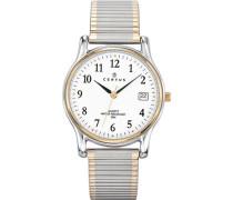 –616366–Armbanduhr–Quarz Analog–Weißes Ziffernblatt–Armband Stahl zweifarbig
