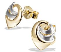 Damen-Ohrstecker Bicolor 375 Gelbgold Tropfen Ohrringe Schmuck
