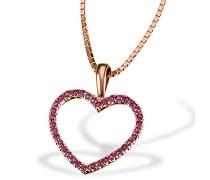 Damen-Herz-Halskette Bicolor Gold 2 Herzen 3 Diamanten 0,03 Karat Herzanhänger Diamantkette