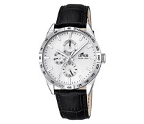 Lotus Herren Quarz-Uhr mit weißem Zifferblatt Analog-Anzeige und schwarz Lederband 18219/1