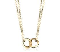 Damen Schmuck Halskette Kette mit Anhänger Kreis Geo Trend Blogger Layer Silber 925 Vergoldet Länge 40 cm