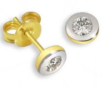 Damen-Ohrstecker 585 Bicolor Gold 2 Diamanten 0,10ct Ohrringe Brillanten Schmuck