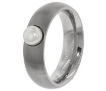 Damen-Ring Titan mattiert Perle Süßwasser-Zuchtperle Weiß