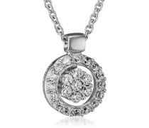 Pierre Cardin Damen Halskette 925 Sterling Silber rhodiniert Glas Zirkonia L'Étoile 42 cm weiß S.PCNL90450A420