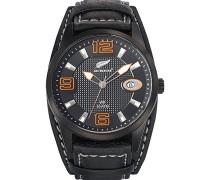 -680297-Armbanduhr-Quarz Analog-Zifferblatt schwarz Armband Leder zweifarbig