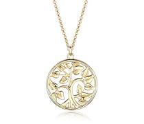 Damen Halskette mit Anhänger Lebensbaum Filigran 925 Sterling Silber vergoldet 70 cm
