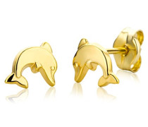 Kinder und Jugendliche-Ohrstecker Delfine 9 Karat 375 Gelbgold
