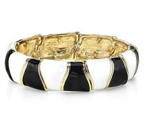 Gold, Schwarz und Weiß, emailliert, Stretch-Armband 61913 17 cm