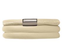 Damen-Armband Nude 3-reihig Edelstahl Leder 57.0 cm - 12112-57
