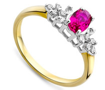 - FINERING 9k  9 Karat (375) Gelbgold Brilliant Rund   Weiß Weiß/Wesselton (H) Diamant Rubis de synthèse