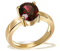 Damen-Ring 9 Karat 375 Gelbgold Ovalschliff Granat