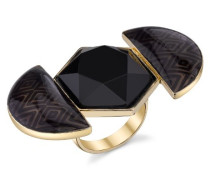 Ring Gold 14ct Pated Hexagon aus Kunstharz, Schwarz