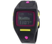 Nixon Unisex-Armbanduhr The Small Lodown All Black / Neon Pop Chronograph Quarz Plastik A4981322-00