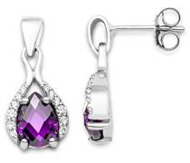 Damen Ohrringe 925 Sterling Silber Amethyst Zirkonia MSAE002E