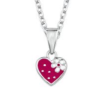 Kinder-Kette Mädchen 35+3 cm längenverstellbar mit Anhänger Herz Erdbeere 925 Sterling Silber rhodiniert Emaille - 2017932