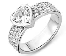 Damen 925 Sterling Silber Verlobungsring mit Zirkonia