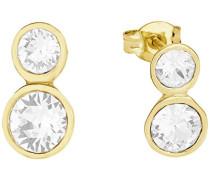Damen-Ohrstecker gelbvergoldet veredelt mit Swarovski Kristallen, 12 mm