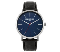 Ben Sherman Herren Armbanduhr mit blauem Zifferblatt Analog Leder Schwarz Gurt wb054b