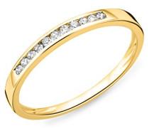 18 Karat (750) Gelbgold 54 (17.2) Damenring, mit  14 (0,1 cts) Diamanten