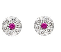 Damen-Ohrstecker 18 Karat 750 Gold 12 Diamanten 2 Rubine 0.2 Carat OD-5280