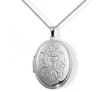 Damen-Halskette 925 Sterling Silber Medallion Blumen 45 cm Fo C3290S Kettenanhänger Schmuck