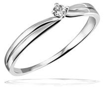 Damen-Ring Verlobungsring Solitär 375 Weißgold 1 Brillant 0,05 ct.
