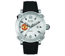 Accu Swiss Manchester United Arterie Herren Automatik Uhr mit Silber Zifferblatt Analog-Anzeige und schwarz Silikon Strap 63b195