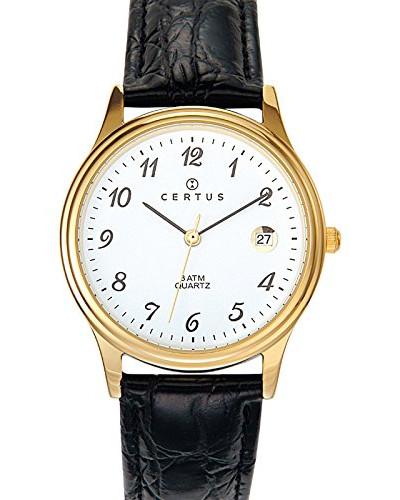 –612216–Armbanduhr–Quarz Analog–Weißes Ziffernblatt–Armband Leder Schwarz