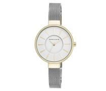 Damen-Armbanduhr Maya Quarz mit weißem Zifferblatt Analog-Anzeige und Silber Legierung Armband AK/n2443wttt