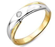 Damen-Ring 375 Weiß- Gelbgold mit Brillant 0.04ct M9003RO