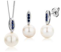 Damen-Schmuckset Halskette und Ohrringe Karat 375 Weißgold Süßwasser-Zuchtperlen und Saphir Blau