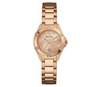 Bulova Damen-Armbanduhr Diamonds Analog Quarz Edelstahl 97W101