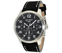 Jet Set-j64803-217-Mailand Damen-Armbanduhr-Quarz Chronograph-Zifferblatt schwarz Armband Stahl Silber