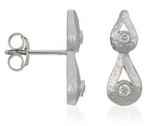 Damen-Ohrstecker 925 Sterling Silber rhodiniert mattiert Zirkonia weiß ZO-5253