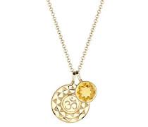 Damen-Kette mit Anhänger Om Edelsteinkette Karma 925 Silber Citrin gelb Brillantschliff 45 cm - 0102781915_45
