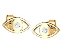 Damen Ohrstecker Evil Eye vergoldet 925 Sterling Silber Swarovski Kristall weiß Brillantschliff 0309550115