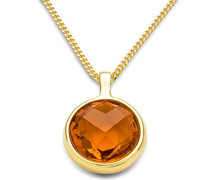 Damen-Anhänger Damen-Halskette 9 Karat ( 375 ) Gelbgold Citrin Quartz 2.0ct. Kette 45 cm Quarz orange Rundschliff - MNA9062N