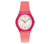 -di-007-04-Light-Armbanduhr-Quarz Analog-Weißes Ziffernblatt-Armband Silikon Rosa