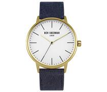 Ben Sherman Herren Armbanduhr mit weißem Zifferblatt Analog-Anzeige und Marine Stoff Riemen wb009ug