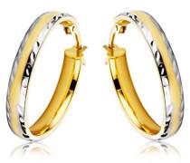 9 Karat (375) Gelb-/Weißgold Damen-Creolen facettiert