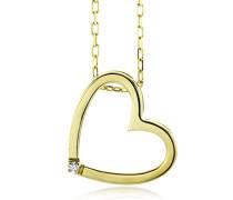 Halskette mit Herzanhnger 18Ct/750 Gelbgold mit Brillant ca.0,01Ct 42cm M0836CY