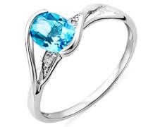 Damen-Ring 375 Weißgold Blau Topas und Brillanten