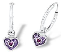 Prinzessin Lillifee Kinder-Ohrhänger Herzen lila rhodiniert 925 Silber