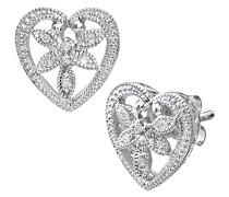 Damen-Ohrstecker 9 Karat Blume in Herz Ohrringe 375 Weißgold rhodiniert Diamant 0,05 ct weiß Rundschliff PE03079W
