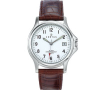 Herren-Armbanduhr 610424 Analog Leder Braun