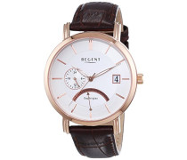 Regent Herren-Armbanduhr XL Analog Quarz Leder 11100251