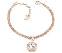 Damen-Armband Herz Messing Glas weiß 19.0 cm - UBB21536-S